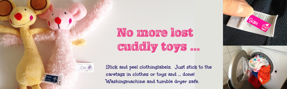 No more lost cuddly toys ... Stick and peel clothinglabels. Just stick to the caretags in clothes or toys and ... done! Washingmachine and tumble dryer safe.