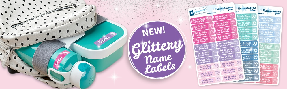 New! Glittery Name Labels