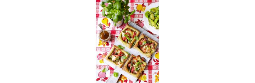 Four vegetable tartlets on the table